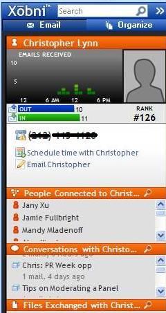 Xobni screenshot